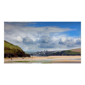 Beach landscape at Daymer bay in Cornwall UK Poster
