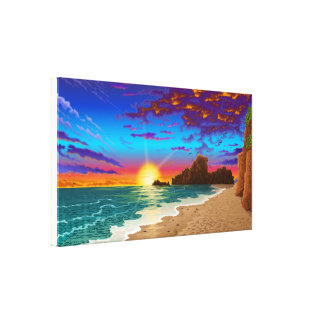 Beach Landscape scenery 3 on canvas
