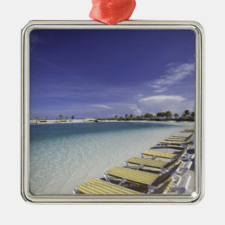 Beach lawn chairs tropical water Silver-Colored square ornament