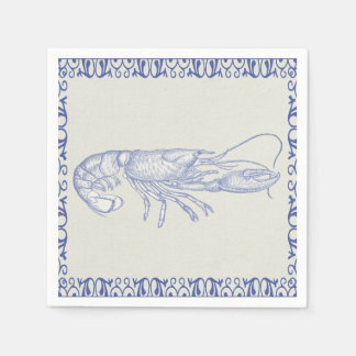 Beach Life Blue Lobster on Cream Paper Napkin