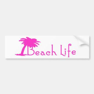 Beach Life Bumper Sticker (Pink)