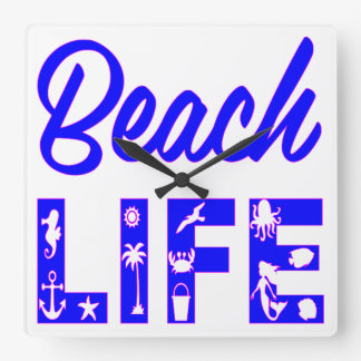Beach Life  FB.com/USAPatriotGraphics © Square Wall Clock