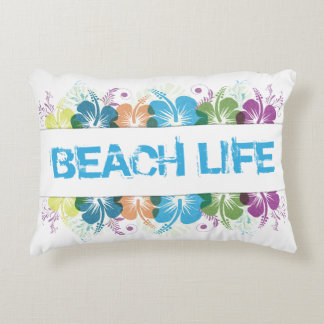 Beach Life Hibiscus Pattern Accent Pillow