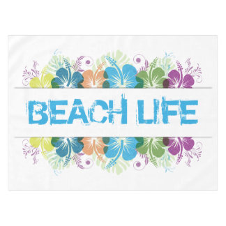 Beach Life Hibiscus Pattern Tablecloth
