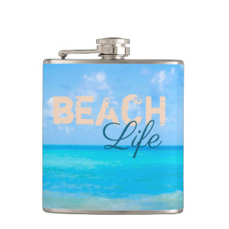 Beach Life. Refreshing tropical seaside paradise. Hip Flask