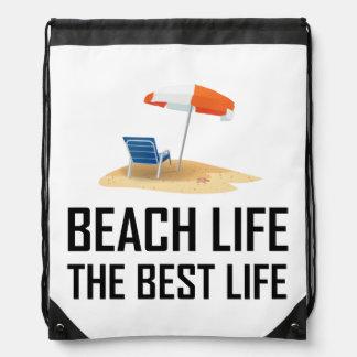 Beach Life The Best Life Drawstring Bag