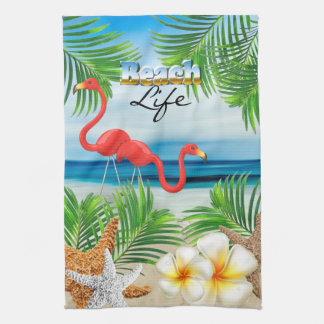 Beach Life with Pink Flamingos Kitchen Towel