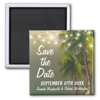 Beach Lights Palm Tree Tropical Save the Date Magnet