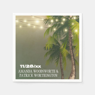 Beach Lights Palm Tree Tropical Wedding Napkins Paper Napkins