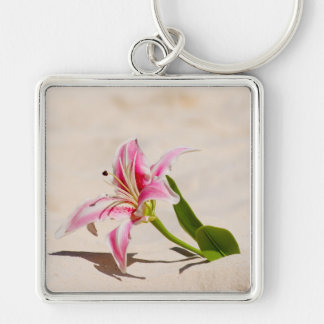 Beach Lily Silver-Colored Square Keychain