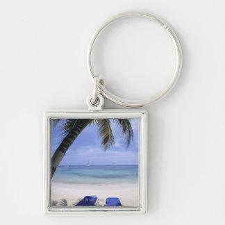 Beach, Lounge Chair, Palm tree, Horizon Over Keychains