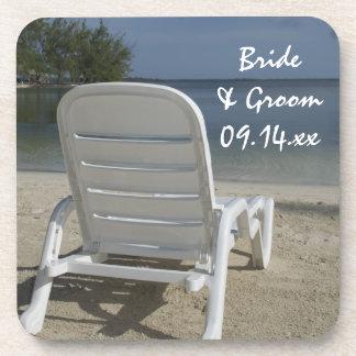 Beach Lounge Chair Wedding Beverage Coaster