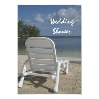 "Beach Lounge Chair Wedding Shower 5"" X 7"" Invitation Card"