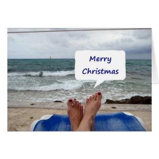 """BEACH LOUNGER SAYS """"MERRY CHRISTMAS"""" CARD"""