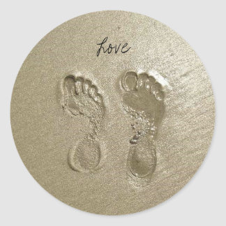 Beach Love Classic Round Sticker
