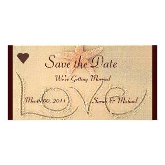 Beach Love Wedding Announcement Card