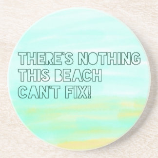 Beach Lover Quote Watercolor Typography Coaster