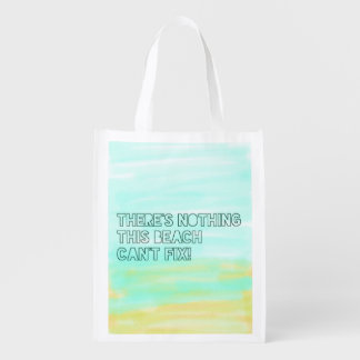 Beach Lover Quote Watercolor Typography Reusable Grocery Bag