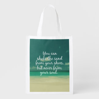 Beach Lovers Quote Reusable Grocery Bag