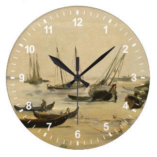 Beach, Low Tide Large Clock