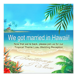 Beach Luau Hawaii Reception get names in sand Card