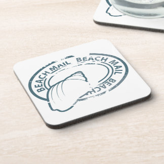 Beach mail rubber stamp drink coaster