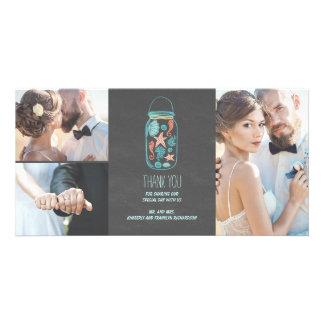 Beach Mason Jar Coastal Wedding Thank You Photo Greeting Card