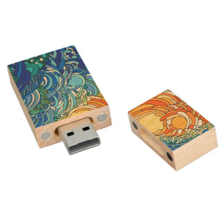 Beach Memories Wood USB 2.0 Flash Drive