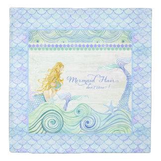Beach Mermaid Hair Don't Care Saying Watercolor Duvet Cover