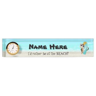 Beach Monkey cartoon add name deskplate Nameplate