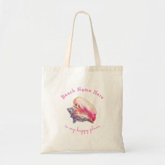 Beach Name Happy Place Pink Conch Tote