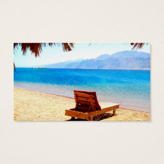 beach nature blue water sandy picture business card
