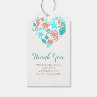 Beach Nautical Ocean Treasures Heart Wedding Gift Tags