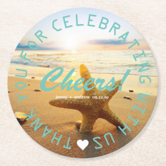 Beach Nautical Wedding Favor Party Personalized Round Paper Coaster