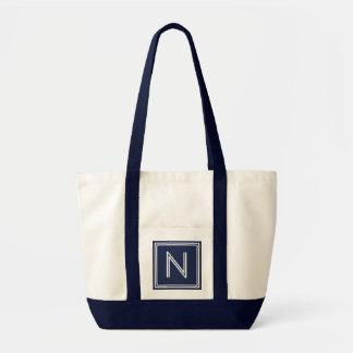 BEACH NAVY BLUE-ANY LETTER MONOGRAM TOTE BAG