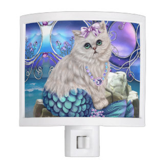 Beach Night Light with Mermaid Cat