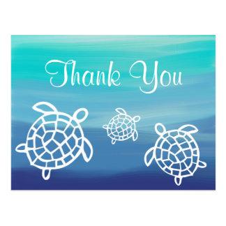 Beach Ocean Honu Turtles Thank You Postcard