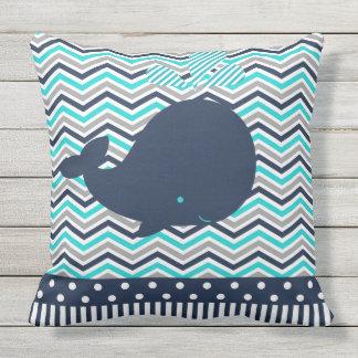 Beach Ocean Nautical Blue Whale Chevron Outdoor Outdoor Pillow