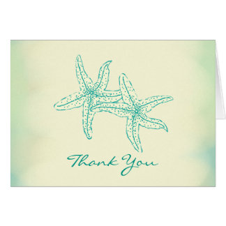 Beach Ocean Starfish Couple Thank You Card