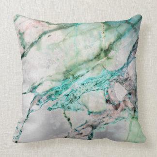 Beach Ocean Water Gray Mint Silver Gold Marble Throw Pillow