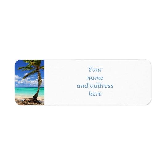 Beach of a tropical island return address label