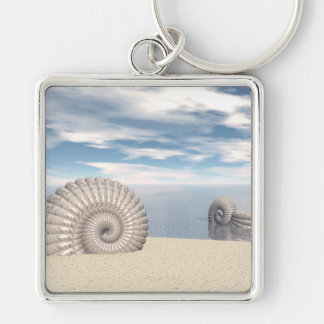 Beach of Shells Silver-Colored Square Keychain