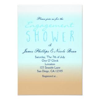 "Beach Ombre Elegant Watercolor Engagement Shower 5"" X 7"" Invitation Card"