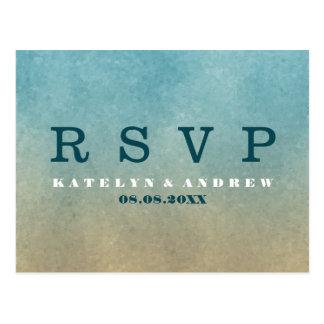 Beach Ombre Minimal Wedding RSVP Postcard