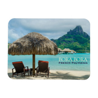 Beach on Bora Bora rectangular text magnet