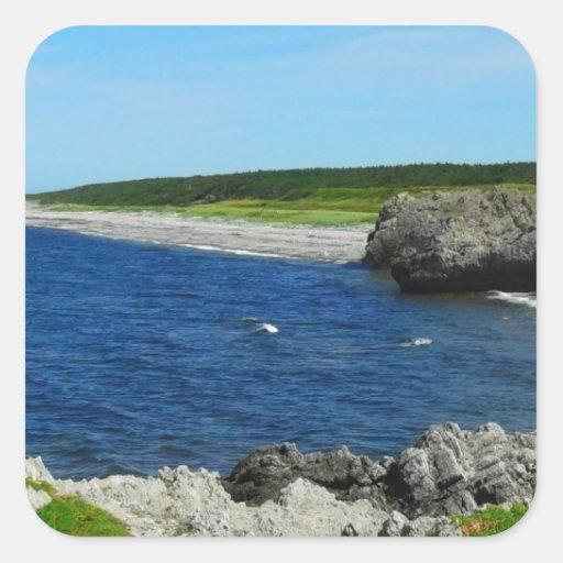 Beach on Coast of Newfoundland Canada Square Stickers