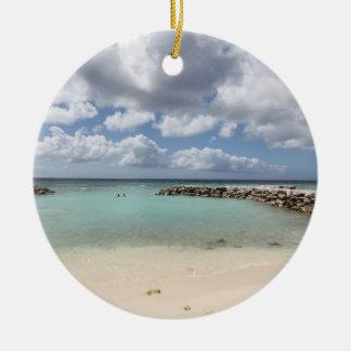 Beach on De Palm Island - Aruba Ceramic Ornament