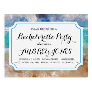 Beach or Tropical Island Bachelorette Party Postcard