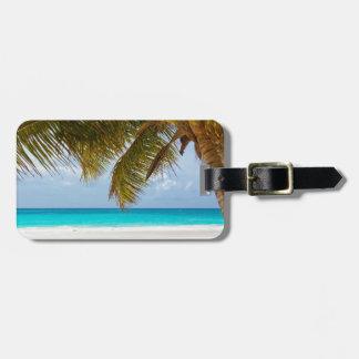 beach palm branches tree tropical island sand sea luggage tag