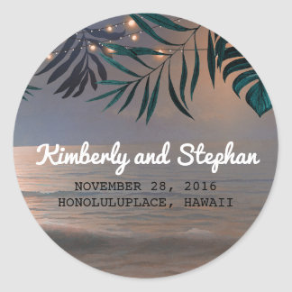 Beach Palms and String Lights Destination Wedding Classic Round Sticker
